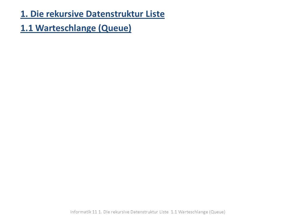 Informatik 11 1. Die rekursive Datenstruktur Liste 1.1 Warteschlange (Queue) 1. Die rekursive Datenstruktur Liste 1.1 Warteschlange (Queue)
