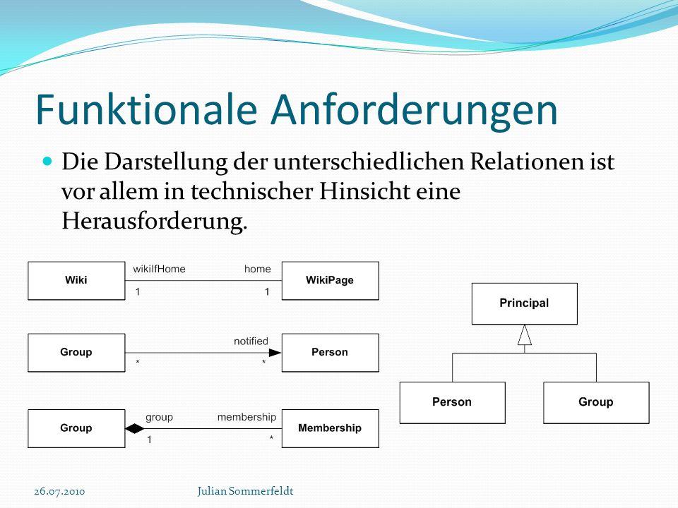 Funktionale Anforderungen Die Darstellung der unterschiedlichen Relationen ist vor allem in technischer Hinsicht eine Herausforderung. 26.07.2010Julia