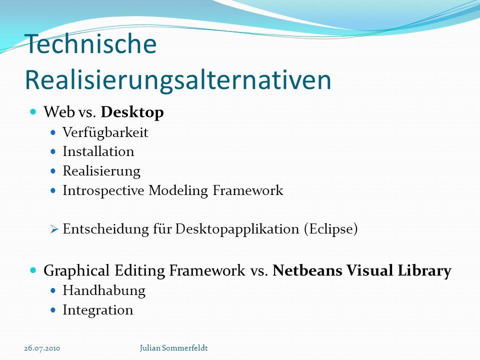 Technische Realisierungsalternativen Web vs. Desktop Verfügbarkeit Installation Realisierung Introspective Modeling Framework Entscheidung für Desktop