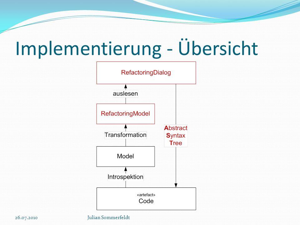 Implementierung - Übersicht 26.07.2010Julian Sommerfeldt