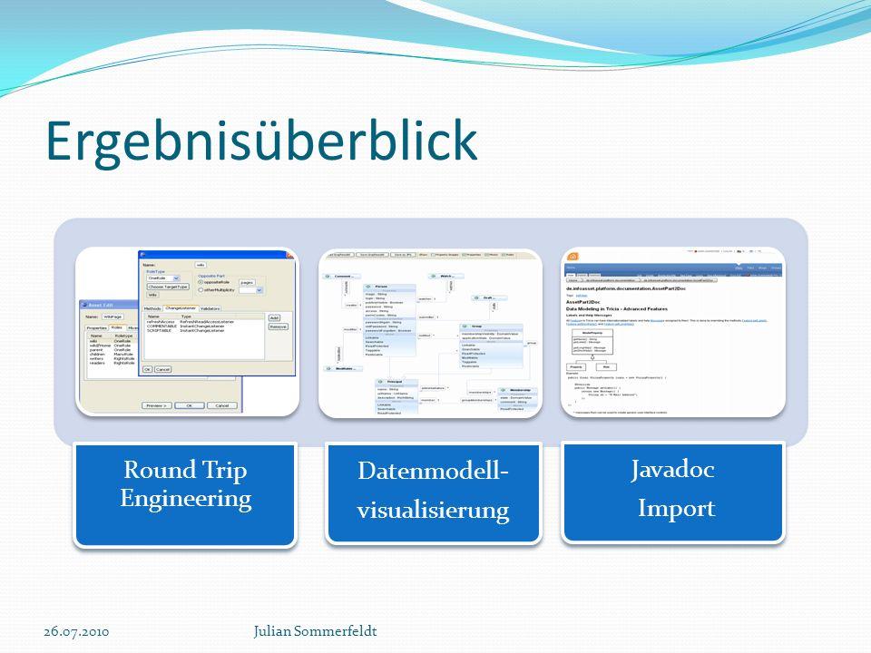 26.07.2010Julian Sommerfeldt Round Trip Engineering Datenmodell- visualisierung Javadoc Import Ergebnisüberblick