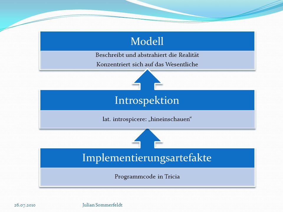 26.07.2010Julian Sommerfeldt Beschreibt und abstrahiert die Realität Konzentriert sich auf das Wesentliche Programmcode in Tricia lat. introspicere: h