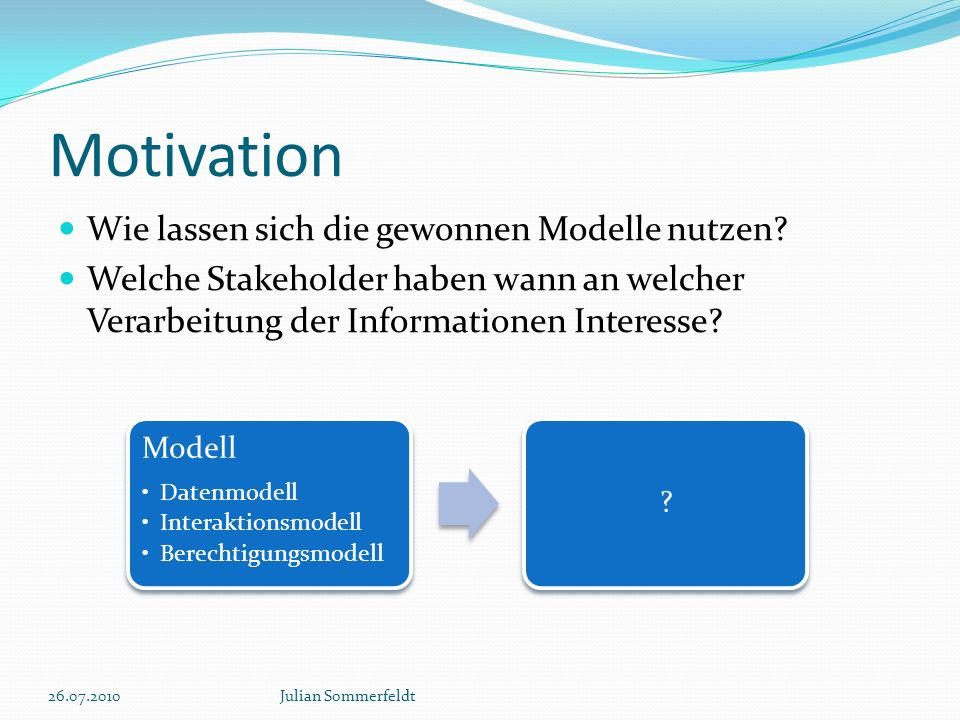 Motivation Modell Datenmodell Interaktionsmodell Berechtigungsmodell .