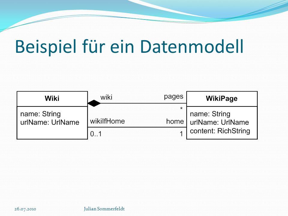 Beispiel für ein Datenmodell 26.07.2010Julian Sommerfeldt