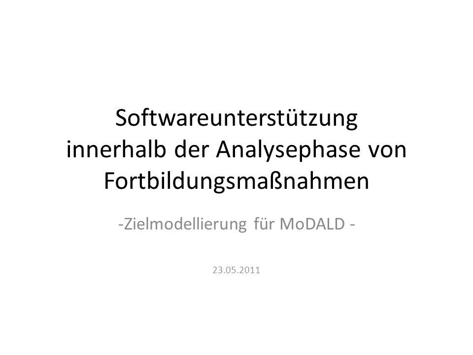 Softwareunterstützung innerhalb der Analysephase von Fortbildungsmaßnahmen -Zielmodellierung für MoDALD - 23.05.2011
