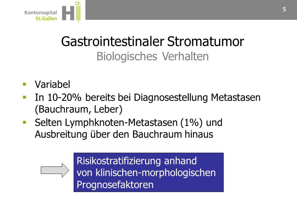 6 Risikogruppe für Rezidiv/Metastasierung Tumorgrösse (cm) Mitotische Aktivität (Mitosen/50 HPF *) Rezidivfreies Überleben (10 Jahre) Sehr niedrig< 2< 598.3 % Niedrig2–5< 588.2 % Intermediär< 56–1079.8 % 5–10< 5 Hoch> 5 30.8 % > 10Jede Mitoserate Jede Grösse> 10 Gastrointestinaler Stromatumor Risikostratifizierung gemäss NIH Konsensus Kriterien (2002) Fletcher CD et al.