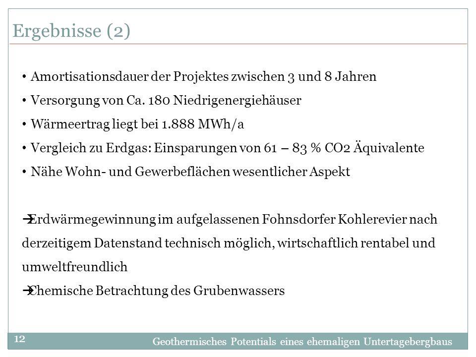 Geothermisches Potentials eines ehemaligen Untertagebergbaus 12 Ergebnisse (2) Amortisationsdauer der Projektes zwischen 3 und 8 Jahren Versorgung von