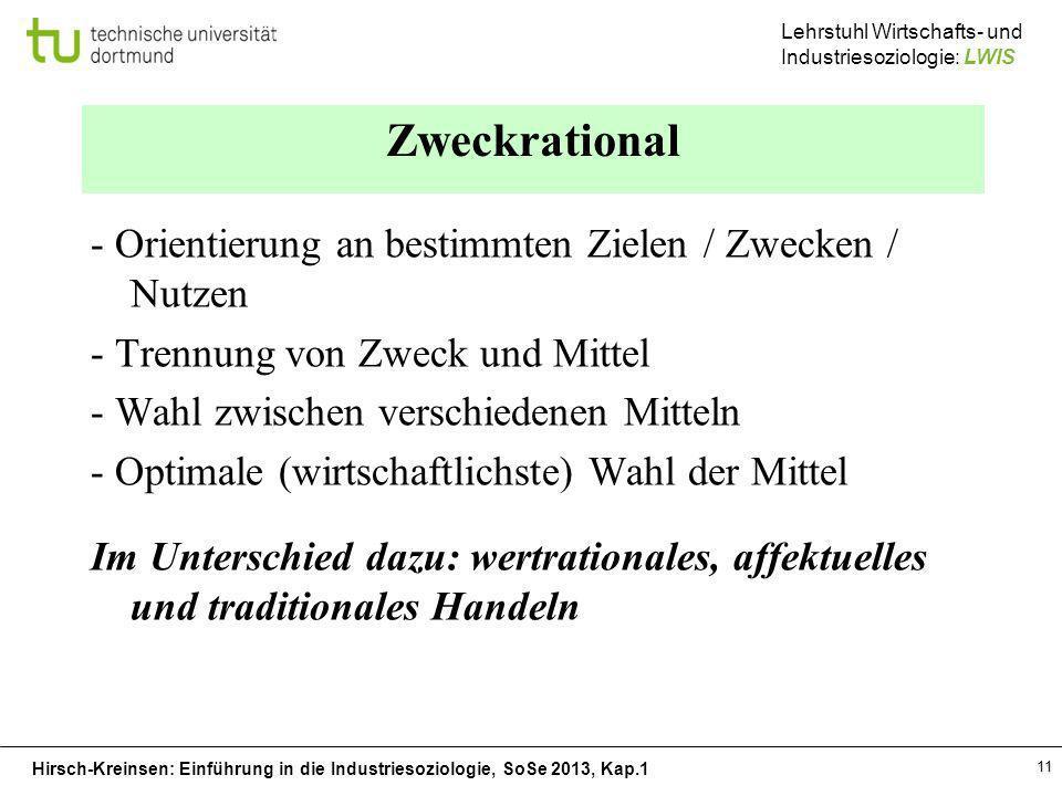 Hirsch-Kreinsen: Einführung in die Industriesoziologie, SoSe 2013, Kap.1 Lehrstuhl Wirtschafts- und Industriesoziologie: LWIS 11 Zweckrational - Orien