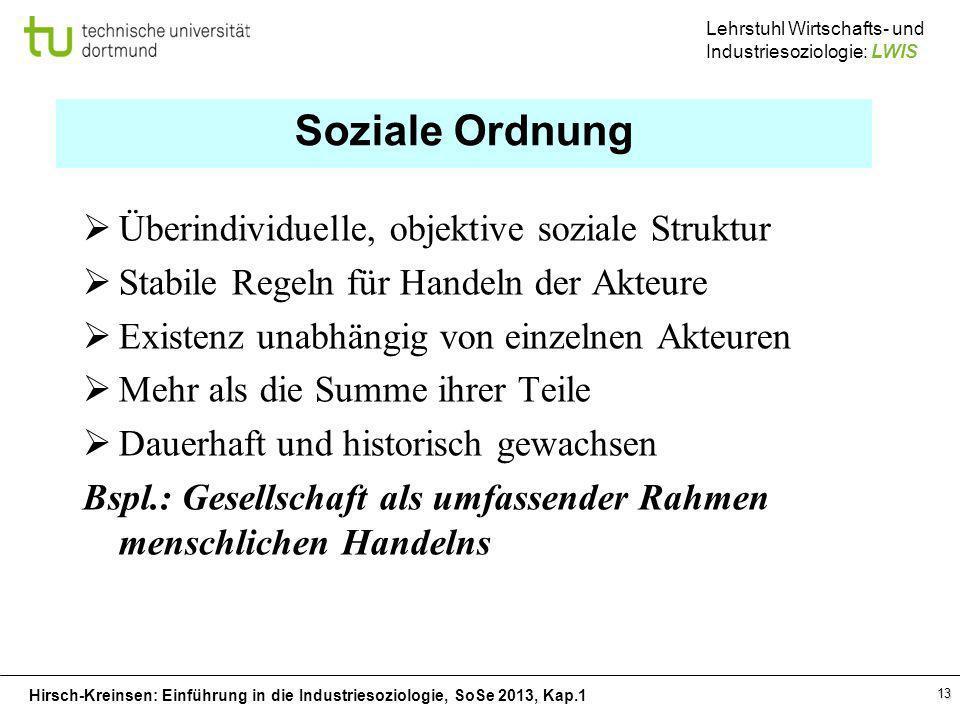 Hirsch-Kreinsen: Einführung in die Industriesoziologie, SoSe 2013, Kap.1 Lehrstuhl Wirtschafts- und Industriesoziologie: LWIS 13 Soziale Ordnung Überi