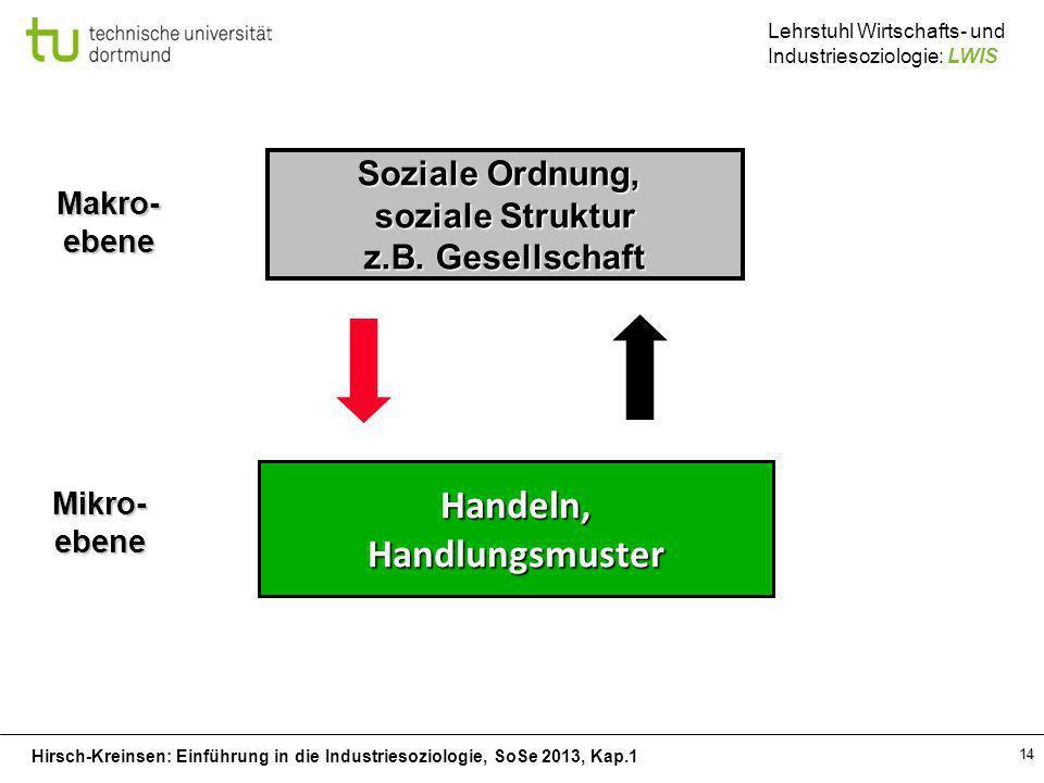 Hirsch-Kreinsen: Einführung in die Industriesoziologie, SoSe 2013, Kap.1 Lehrstuhl Wirtschafts- und Industriesoziologie: LWIS 14 Handeln,Handlungsmust