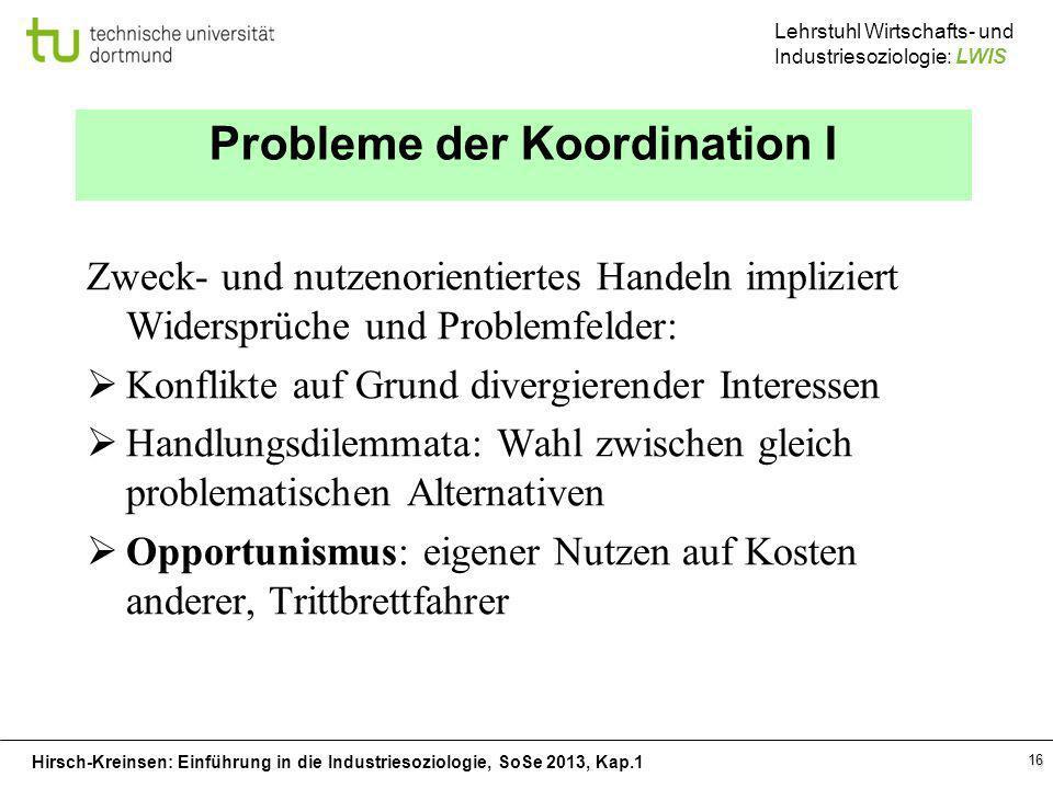 Hirsch-Kreinsen: Einführung in die Industriesoziologie, SoSe 2013, Kap.1 Lehrstuhl Wirtschafts- und Industriesoziologie: LWIS 16 Probleme der Koordina