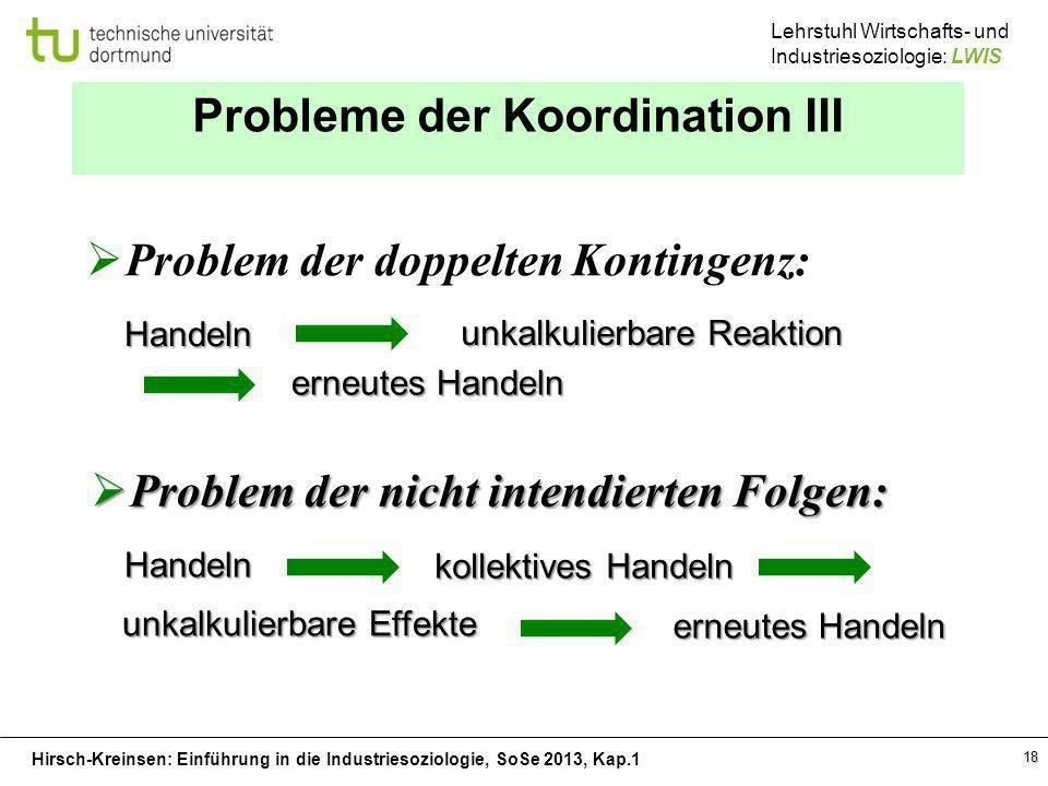 Hirsch-Kreinsen: Einführung in die Industriesoziologie, SoSe 2013, Kap.1 Lehrstuhl Wirtschafts- und Industriesoziologie: LWIS 18 Probleme der Koordina
