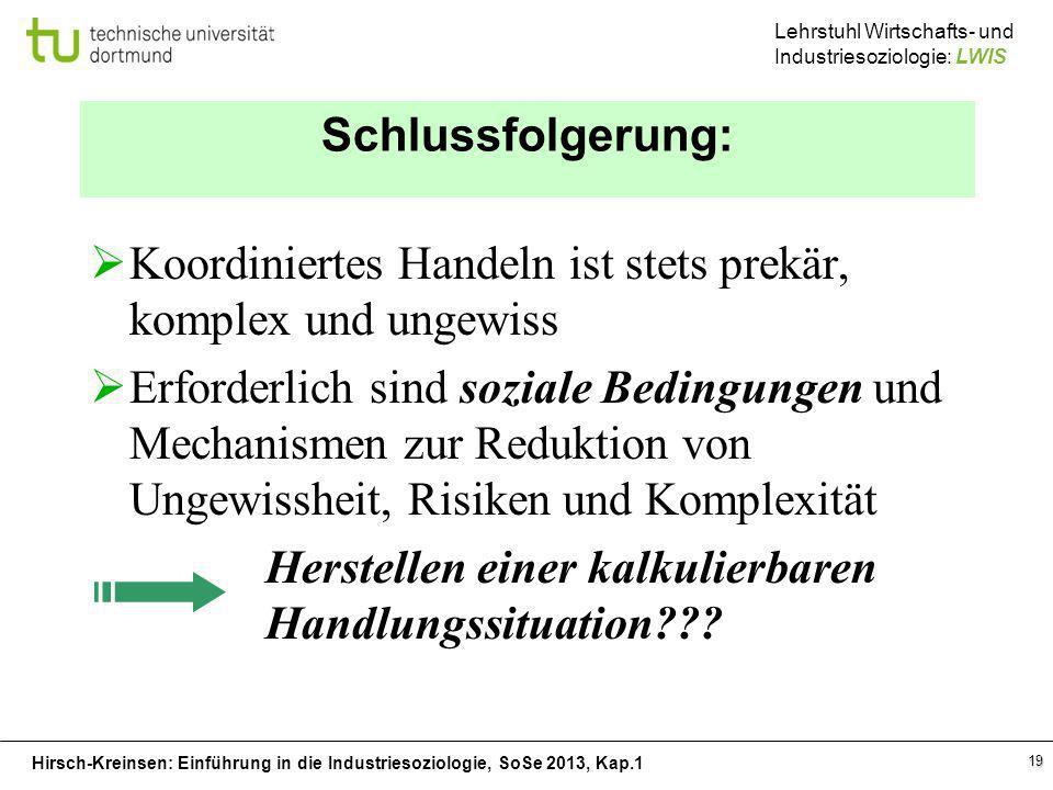 Hirsch-Kreinsen: Einführung in die Industriesoziologie, SoSe 2013, Kap.1 Lehrstuhl Wirtschafts- und Industriesoziologie: LWIS 19 Schlussfolgerung: Koo
