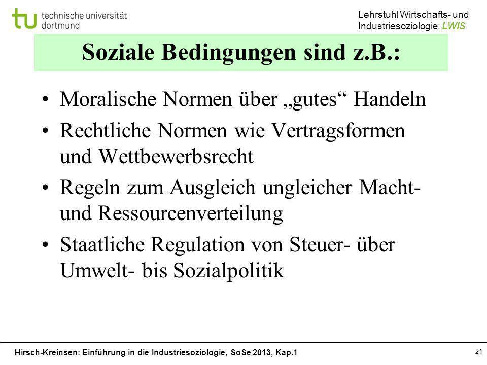 Hirsch-Kreinsen: Einführung in die Industriesoziologie, SoSe 2013, Kap.1 Lehrstuhl Wirtschafts- und Industriesoziologie: LWIS 21 Soziale Bedingungen s