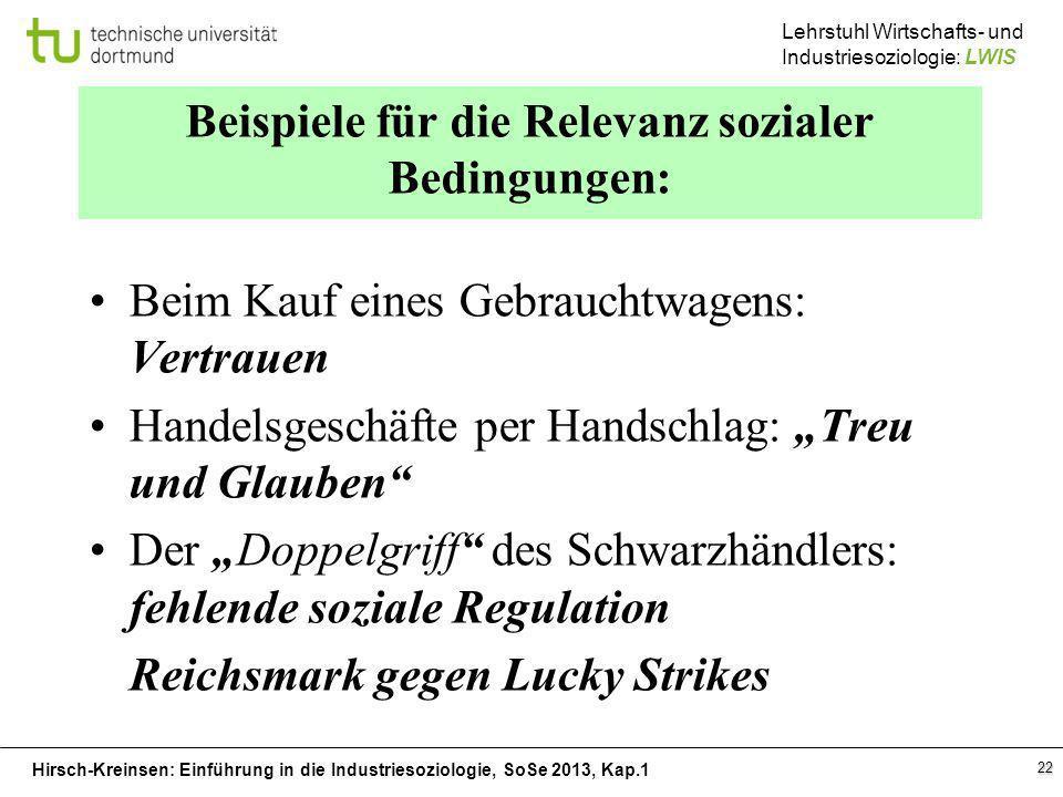 Hirsch-Kreinsen: Einführung in die Industriesoziologie, SoSe 2013, Kap.1 Lehrstuhl Wirtschafts- und Industriesoziologie: LWIS 22 Beispiele für die Rel