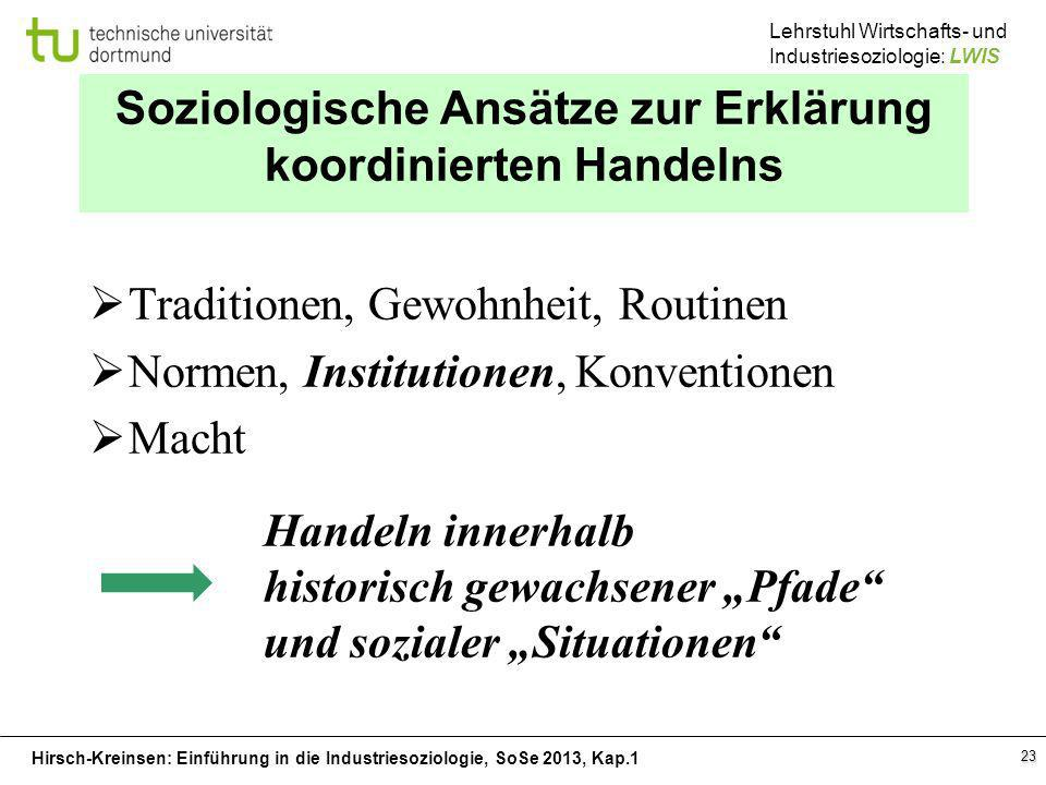 Hirsch-Kreinsen: Einführung in die Industriesoziologie, SoSe 2013, Kap.1 Lehrstuhl Wirtschafts- und Industriesoziologie: LWIS 23 Soziologische Ansätze