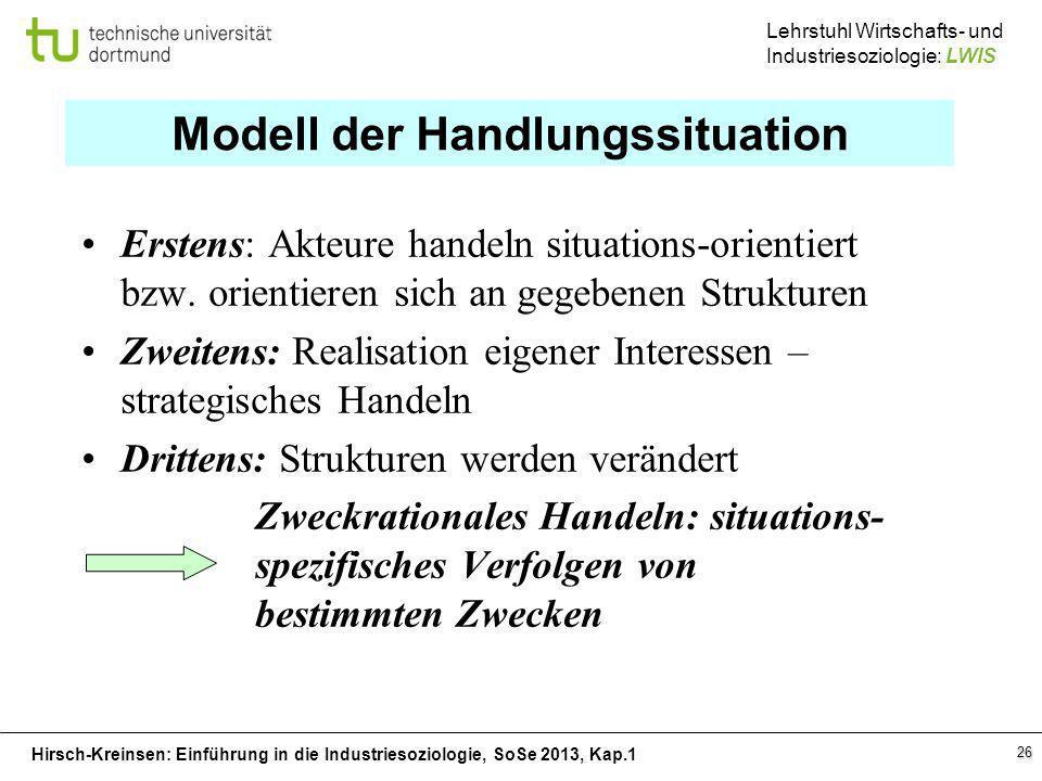 Hirsch-Kreinsen: Einführung in die Industriesoziologie, SoSe 2013, Kap.1 Lehrstuhl Wirtschafts- und Industriesoziologie: LWIS 26 Modell der Handlungss