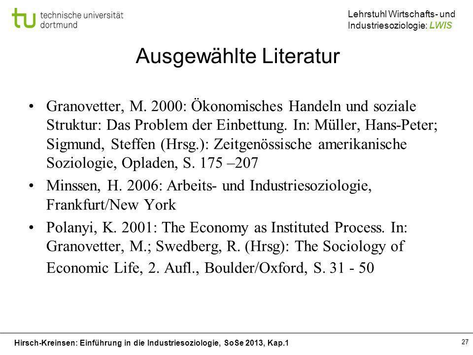 Hirsch-Kreinsen: Einführung in die Industriesoziologie, SoSe 2013, Kap.1 Lehrstuhl Wirtschafts- und Industriesoziologie: LWIS 27 Ausgewählte Literatur