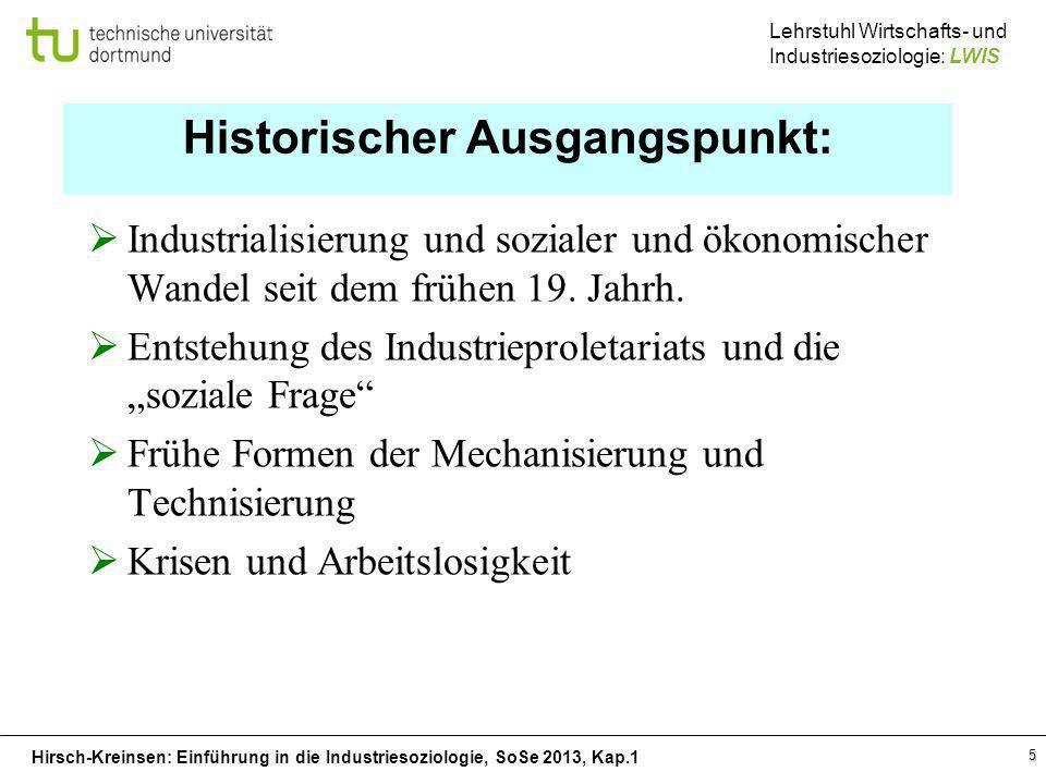 Hirsch-Kreinsen: Einführung in die Industriesoziologie, SoSe 2013, Kap.1 Lehrstuhl Wirtschafts- und Industriesoziologie: LWIS 5 Historischer Ausgangsp