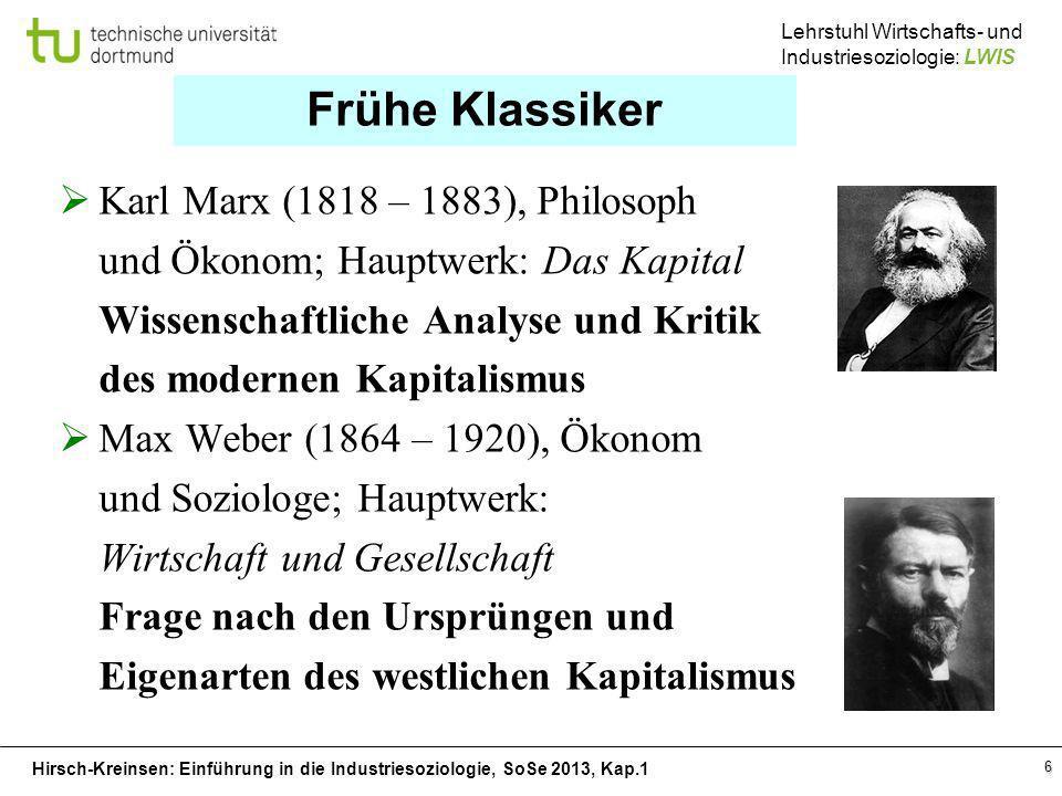 Hirsch-Kreinsen: Einführung in die Industriesoziologie, SoSe 2013, Kap.1 Lehrstuhl Wirtschafts- und Industriesoziologie: LWIS 6 Frühe Klassiker Karl M