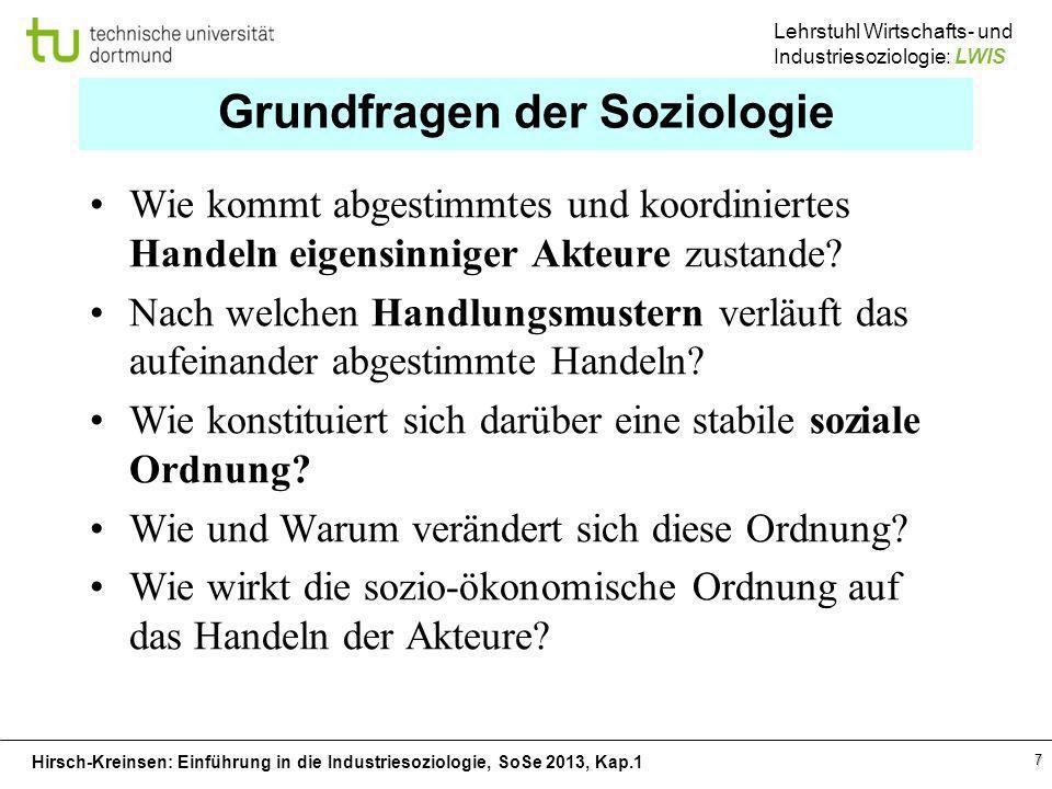 Hirsch-Kreinsen: Einführung in die Industriesoziologie, SoSe 2013, Kap.1 Lehrstuhl Wirtschafts- und Industriesoziologie: LWIS 7 Grundfragen der Soziol