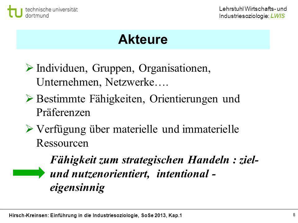 Hirsch-Kreinsen: Einführung in die Industriesoziologie, SoSe 2013, Kap.1 Lehrstuhl Wirtschafts- und Industriesoziologie: LWIS 8 Akteure Individuen, Gr