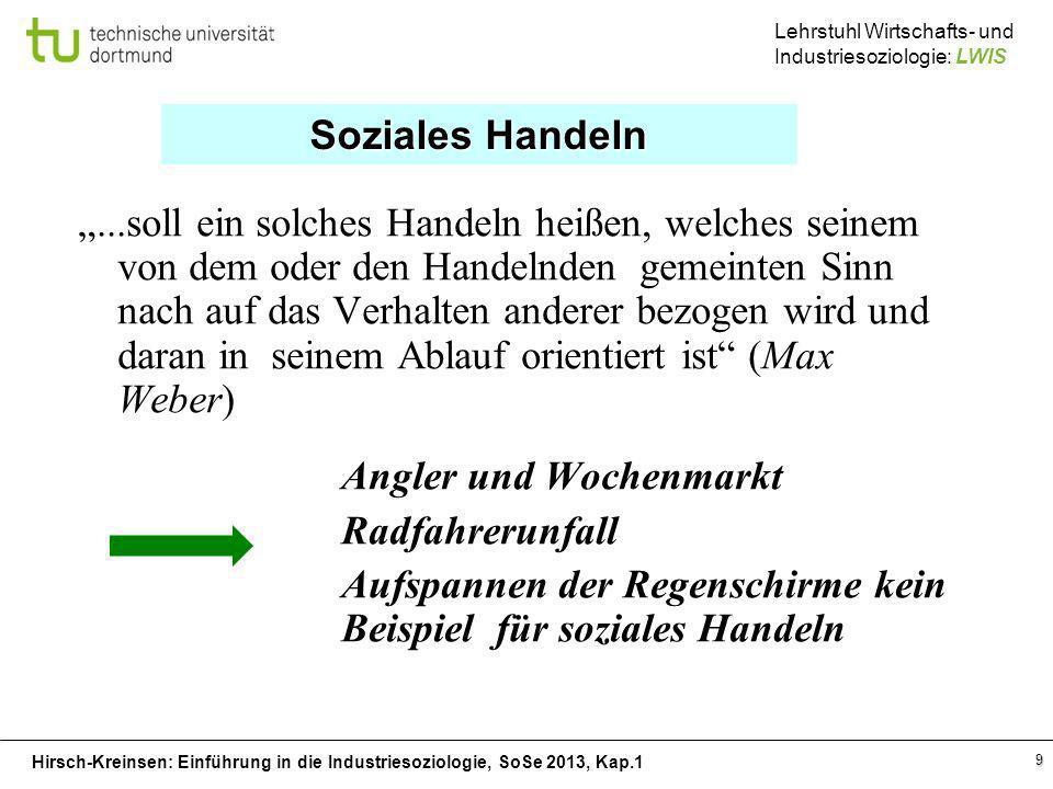 Hirsch-Kreinsen: Einführung in die Industriesoziologie, SoSe 2013, Kap.1 Lehrstuhl Wirtschafts- und Industriesoziologie: LWIS 9...soll ein solches Han