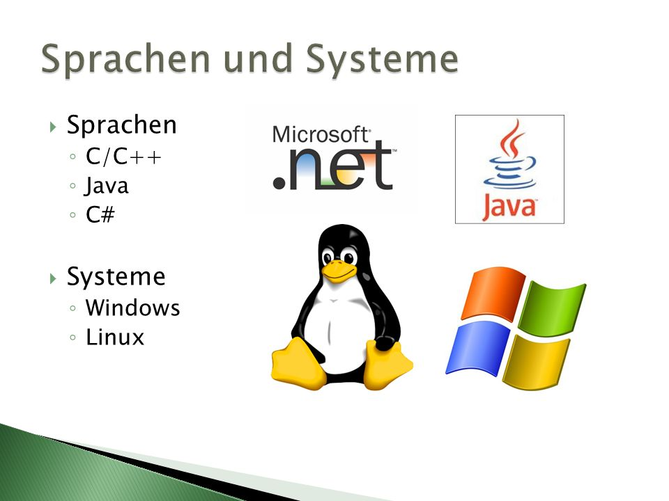 Sprachen C/C++ Java C# Systeme Windows Linux