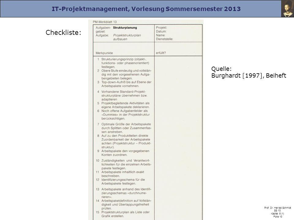 IT-Projektmanagement, Vorlesung Sommersemester 2013 Prof. Dr. Herrad Schmidt SS 13 Kapitel 5 (1) Folie 13 Checkliste: Quelle: Burghardt [1997], Beihef