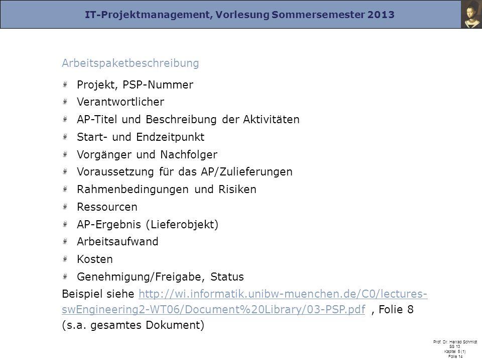 IT-Projektmanagement, Vorlesung Sommersemester 2013 Prof. Dr. Herrad Schmidt SS 13 Kapitel 5 (1) Folie 14 Arbeitspaketbeschreibung Projekt, PSP-Nummer