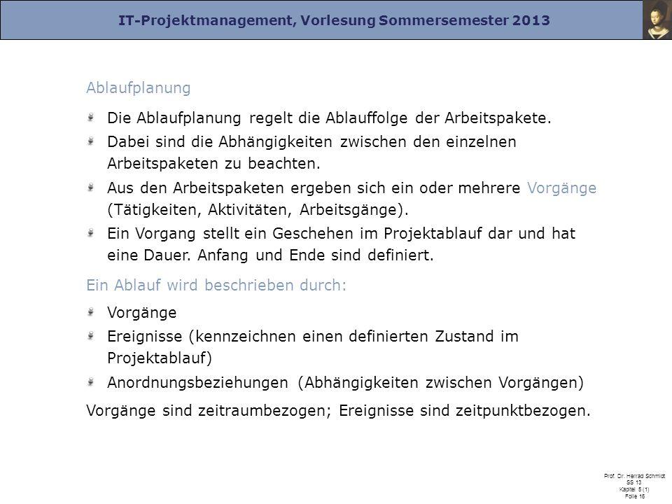IT-Projektmanagement, Vorlesung Sommersemester 2013 Prof. Dr. Herrad Schmidt SS 13 Kapitel 5 (1) Folie 16 Ablaufplanung Die Ablaufplanung regelt die A