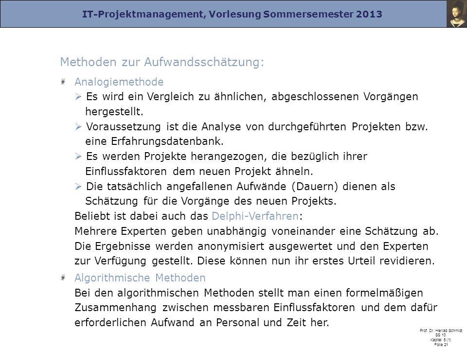 IT-Projektmanagement, Vorlesung Sommersemester 2013 Prof. Dr. Herrad Schmidt SS 13 Kapitel 5 (1) Folie 21 Methoden zur Aufwandsschätzung: Analogiemeth