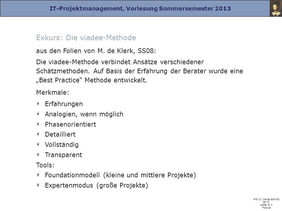 IT-Projektmanagement, Vorlesung Sommersemester 2013 Prof. Dr. Herrad Schmidt SS 13 Kapitel 5 (1) Folie 25 Exkurs: Die viadee-Methode aus den Folien vo