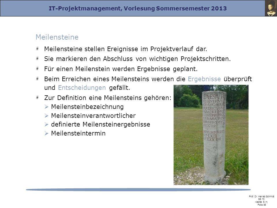 IT-Projektmanagement, Vorlesung Sommersemester 2013 Prof. Dr. Herrad Schmidt SS 13 Kapitel 5 (1) Folie 35 Meilensteine Meilensteine stellen Ereignisse