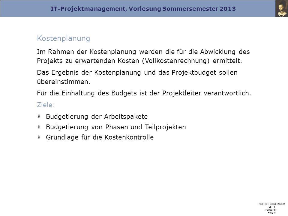 IT-Projektmanagement, Vorlesung Sommersemester 2013 Prof. Dr. Herrad Schmidt SS 13 Kapitel 5 (1) Folie 41 Kostenplanung Im Rahmen der Kostenplanung we