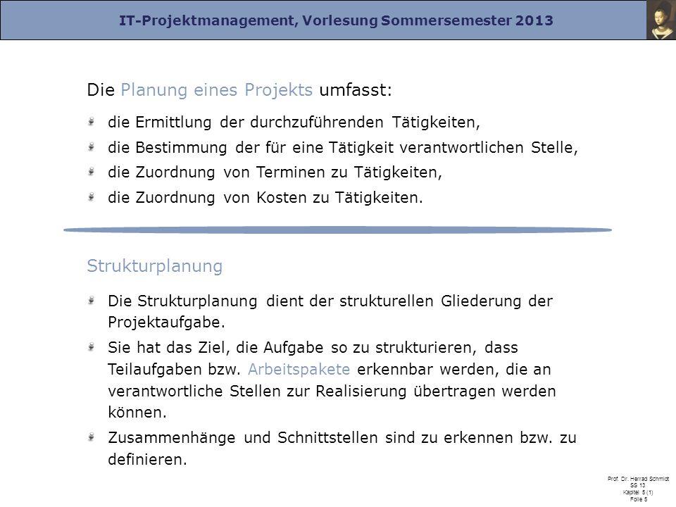 IT-Projektmanagement, Vorlesung Sommersemester 2013 Prof. Dr. Herrad Schmidt SS 13 Kapitel 5 (1) Folie 5 Die Planung eines Projekts umfasst: die Ermit
