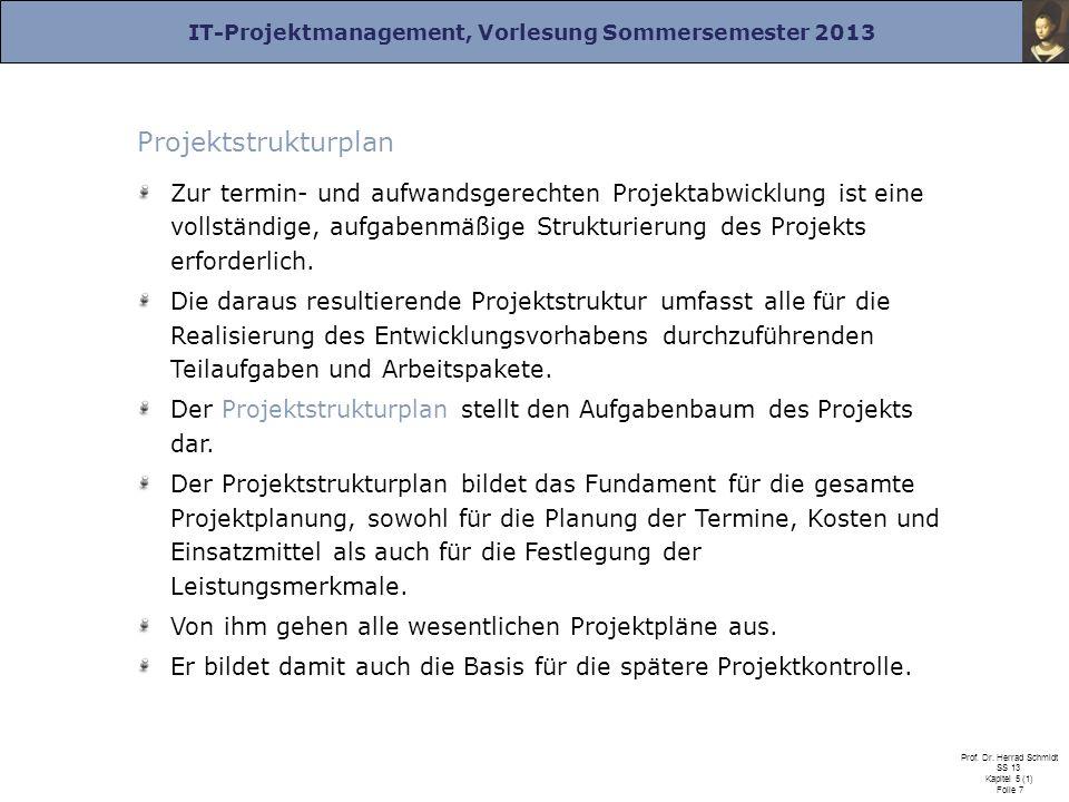 IT-Projektmanagement, Vorlesung Sommersemester 2013 Prof. Dr. Herrad Schmidt SS 13 Kapitel 5 (1) Folie 7 Projektstrukturplan Zur termin- und aufwandsg