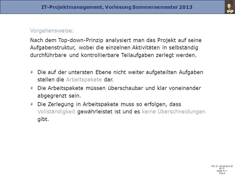 IT-Projektmanagement, Vorlesung Sommersemester 2013 Prof. Dr. Herrad Schmidt SS 13 Kapitel 5 (1) Folie 8 Vorgehensweise: Nach dem Top-down-Prinzip ana