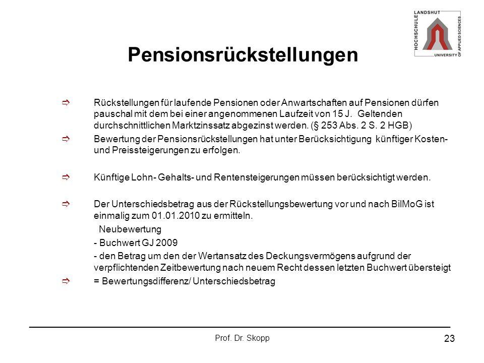 _______________________________________________________________ Prof. Dr. Skopp 23 Pensionsrückstellungen Rückstellungen für laufende Pensionen oder A