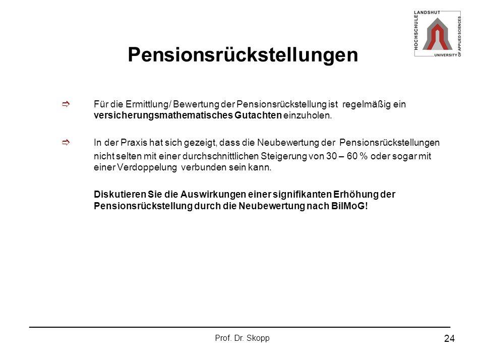 _______________________________________________________________ Prof. Dr. Skopp 24 Pensionsrückstellungen Für die Ermittlung/ Bewertung der Pensionsrü