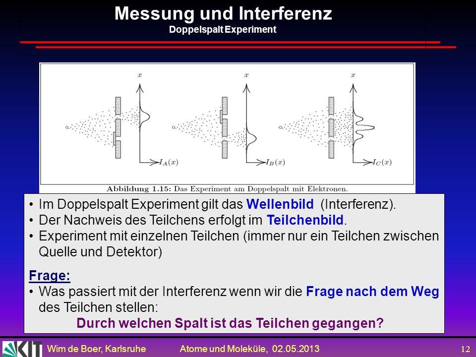 Wim de Boer, Karlsruhe Atome und Moleküle, 02.05.2013 11 p(1)p(1) 1000100101100110101001100101110101000100100100110 0 Anfangszustand Messung QM sagt n