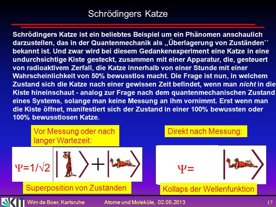 Wim de Boer, Karlsruhe Atome und Moleküle, 02.05.2013 16 Quantenmechanik (Schrödingergleichung) ist linear. Beliebige Überlagerungen = Superpositionen