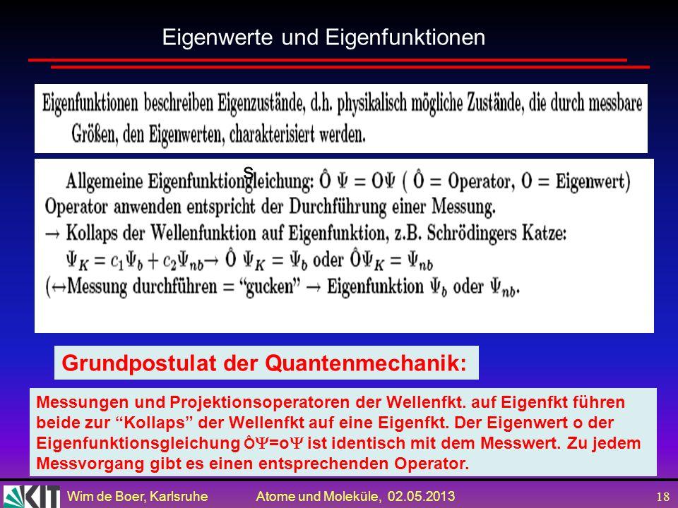 Wim de Boer, Karlsruhe Atome und Moleküle, 02.05.2013 17 Schrödingers Katze ist ein beliebtes Beispiel um ein Phänomen anschaulich darzustellen, das i