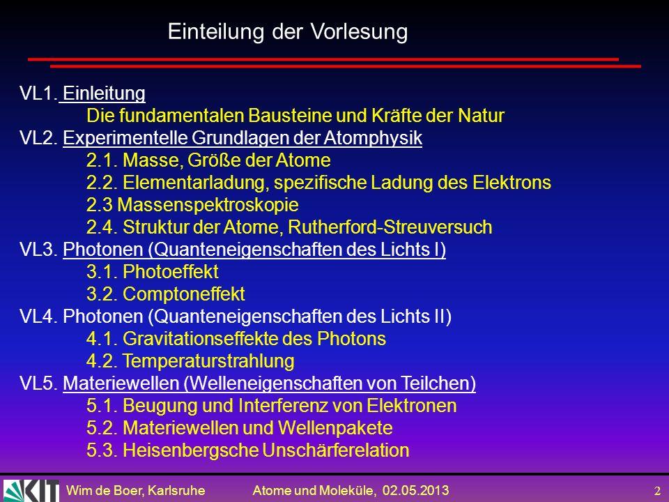 Wim de Boer, Karlsruhe Atome und Moleküle, 02.05.2013 22 Messung projiziert ein Quantensystem aus einer Superposition in einen Eigenzustand des Messapparates: Kollaps der Wellenfunktion Berühmtes Beispiel : Schrödingers Katze: ohne Messung Wellenfunktion ist Überlagerung (oder Superposition) von |bewusst> und |bewusstlos> Nach der Messung KENNE ich den Zustand und weiß, dass die Wellenfkt.