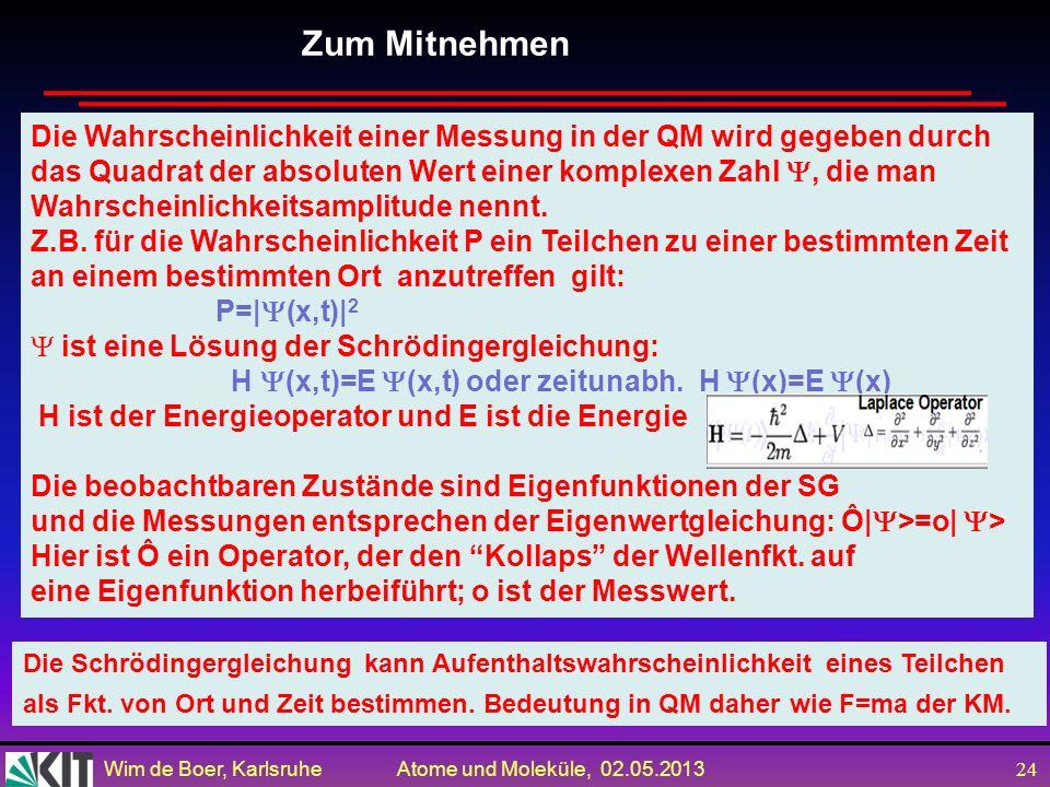 Wim de Boer, Karlsruhe Atome und Moleküle, 02.05.2013 23 Frage: ist QM Mechanik eine komplette Theorie, d.h. kann man alle Komponenten der Wellenfkt.