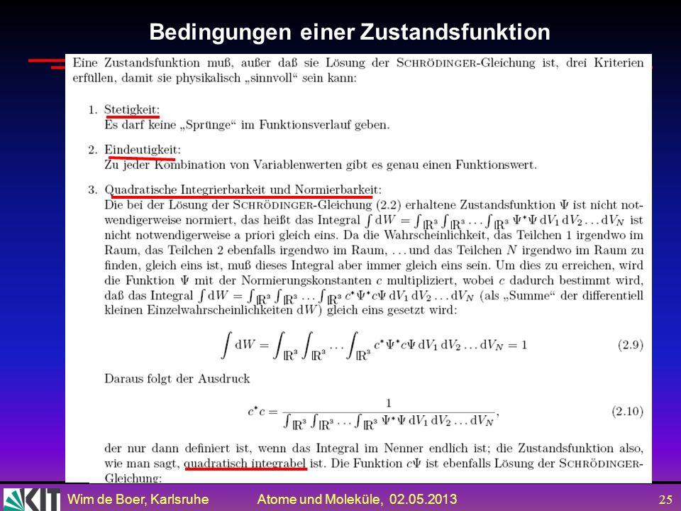 Wim de Boer, Karlsruhe Atome und Moleküle, 02.05.2013 24 Zum Mitnehmen Die Wahrscheinlichkeit einer Messung in der QM wird gegeben durch das Quadrat d