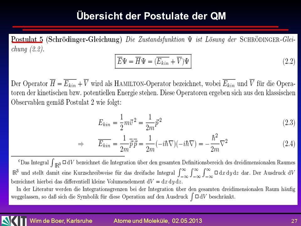 Wim de Boer, Karlsruhe Atome und Moleküle, 02.05.2013 26 Übersicht der Postulate der QM durch = / gegeben ist.