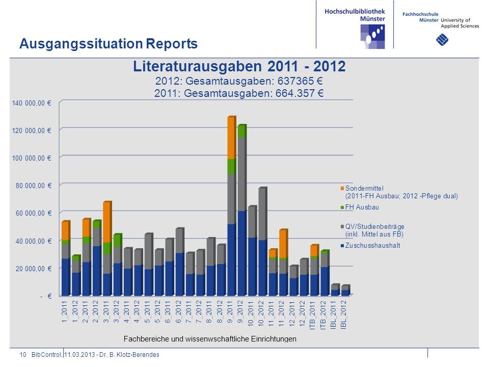 Ausgangssituation Reports 10BibControl, 11.03.2013 - Dr. B. Klotz-Berendes