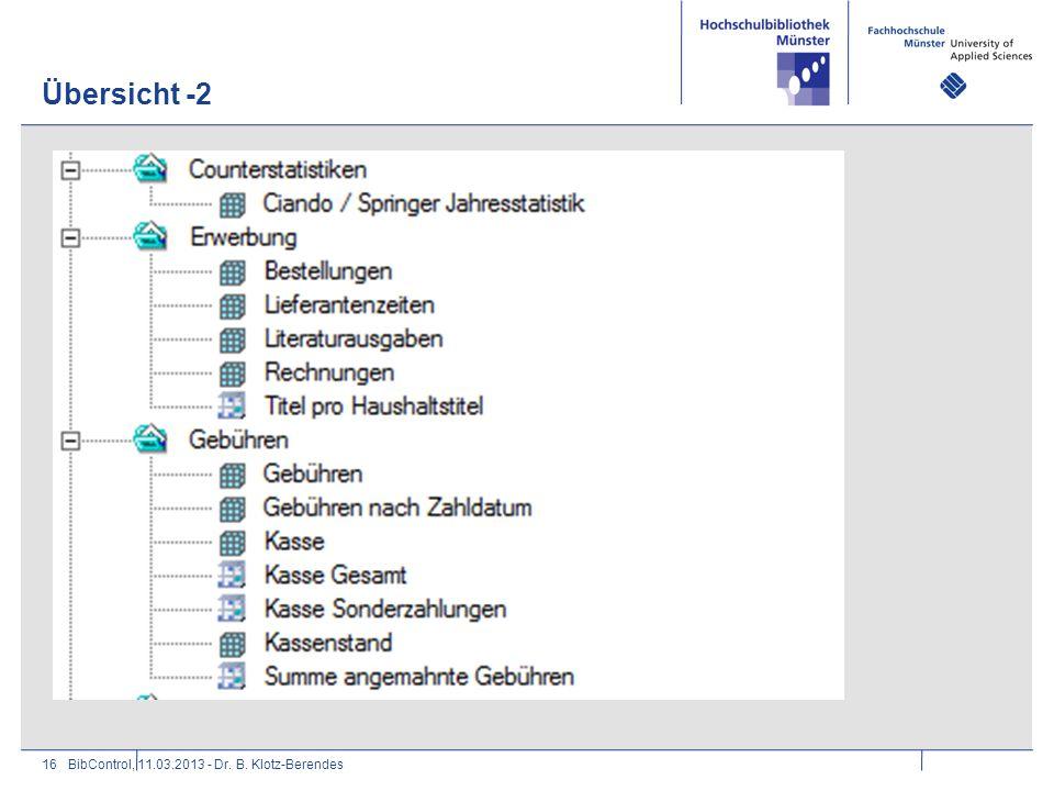 Übersicht -2 16BibControl, 11.03.2013 - Dr. B. Klotz-Berendes