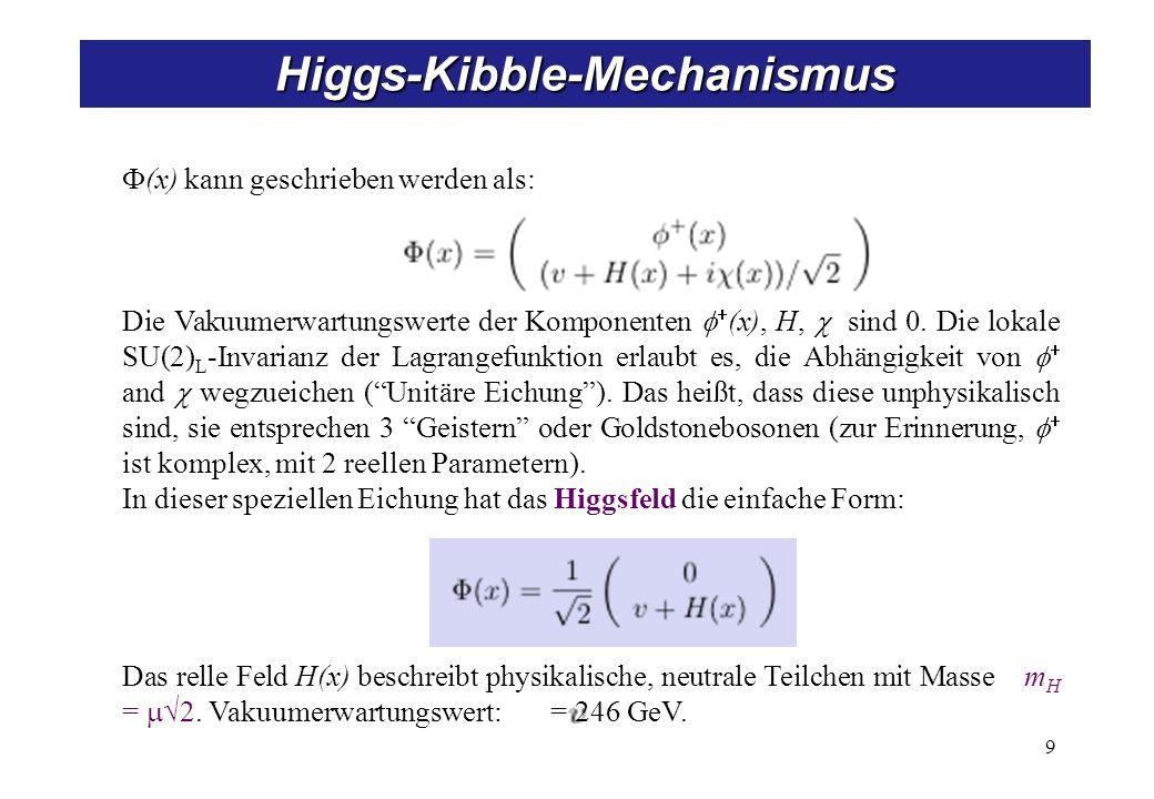 9 Higgs-Kibble-Mechanismus (x) kann geschrieben werden als: Die Vakuumerwartungswerte der Komponenten (x), H, sind 0. Die lokale SU(2) L -Invarianz de